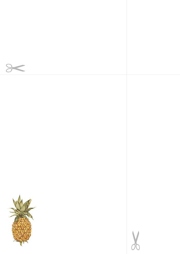 Papel de carta para imprimir - Abacaxi