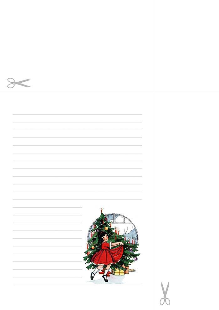 Papel de carta com linhas - Menina Natal