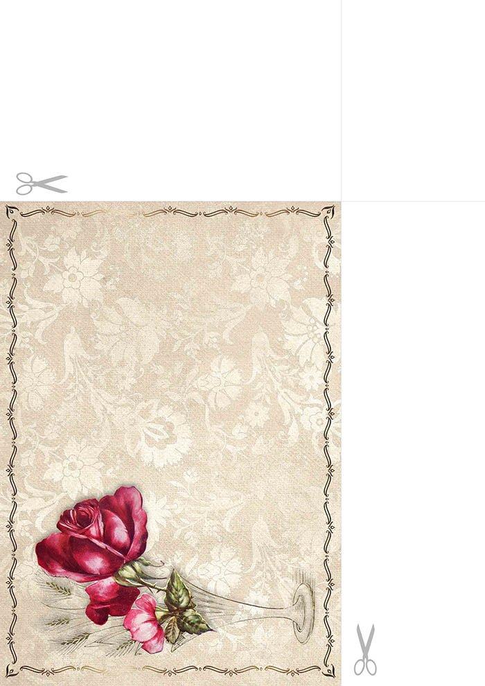 Papel de carta - Flor Vintage