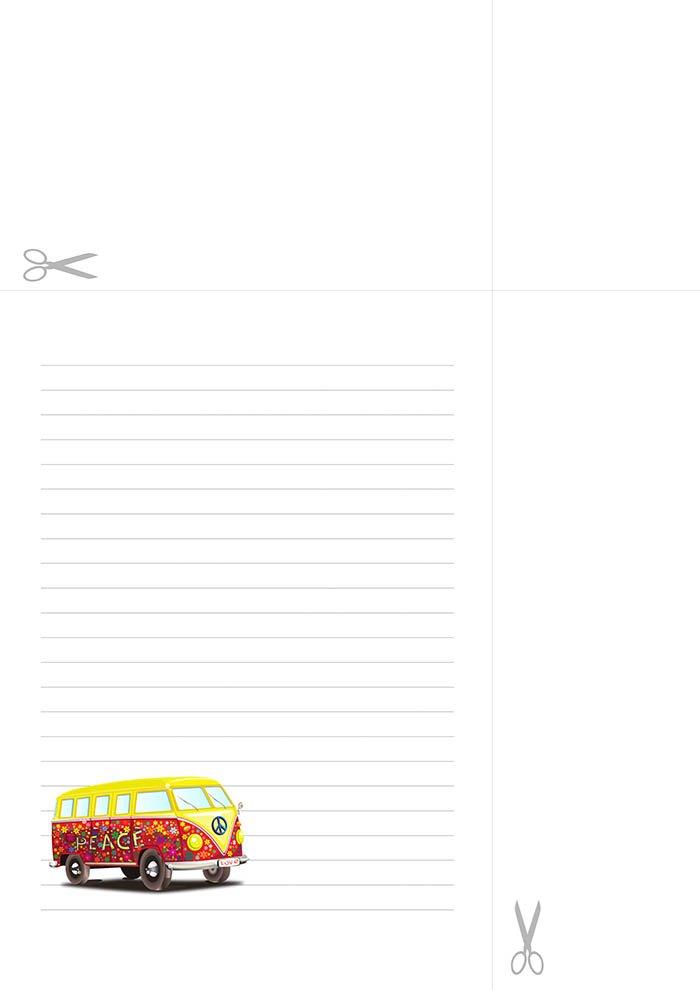 Papel de carta com linhas - Kombi