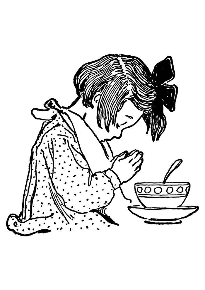 desenho menina rezando