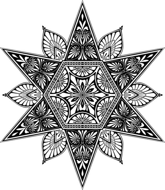 Mandala com estrela para colorir
