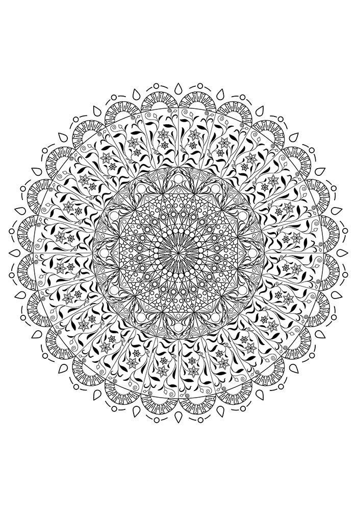 Mandala com forma geométrica para colorir