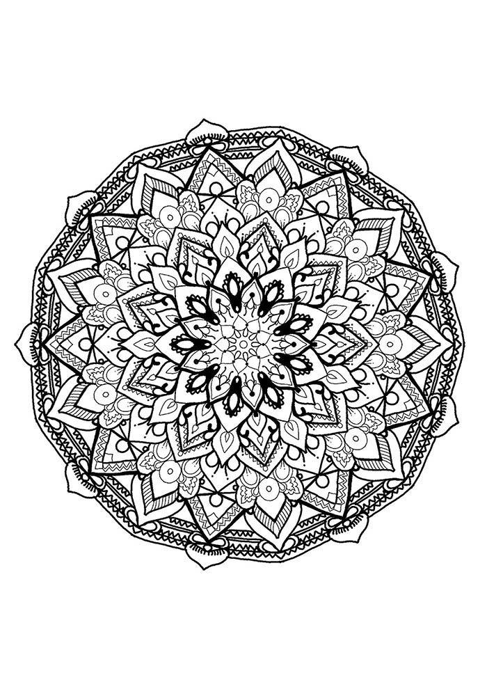 Mandala para colorir flores