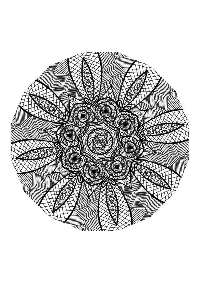 Mandala difícil para colorir