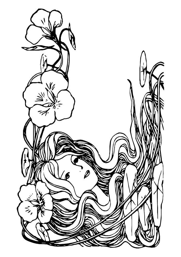 menina florida para colorir
