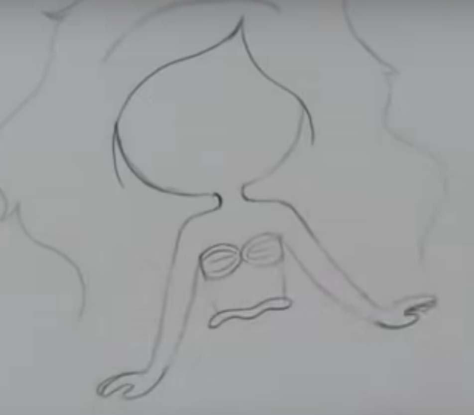 como desenhar uma sereia passo 5