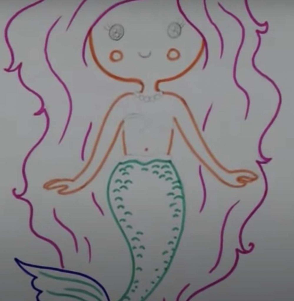 como desenhar uma sereia passo 9