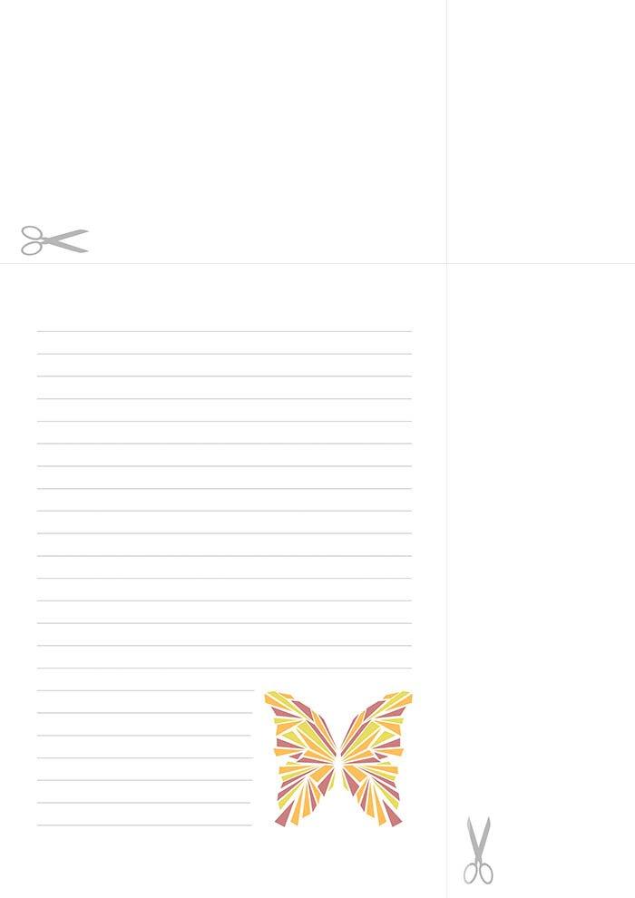 papel de carta com linhas borboleta