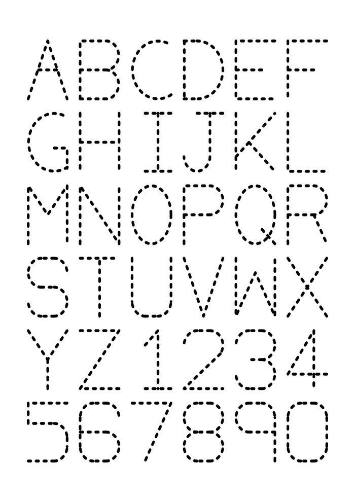 Letras e números pontilhados