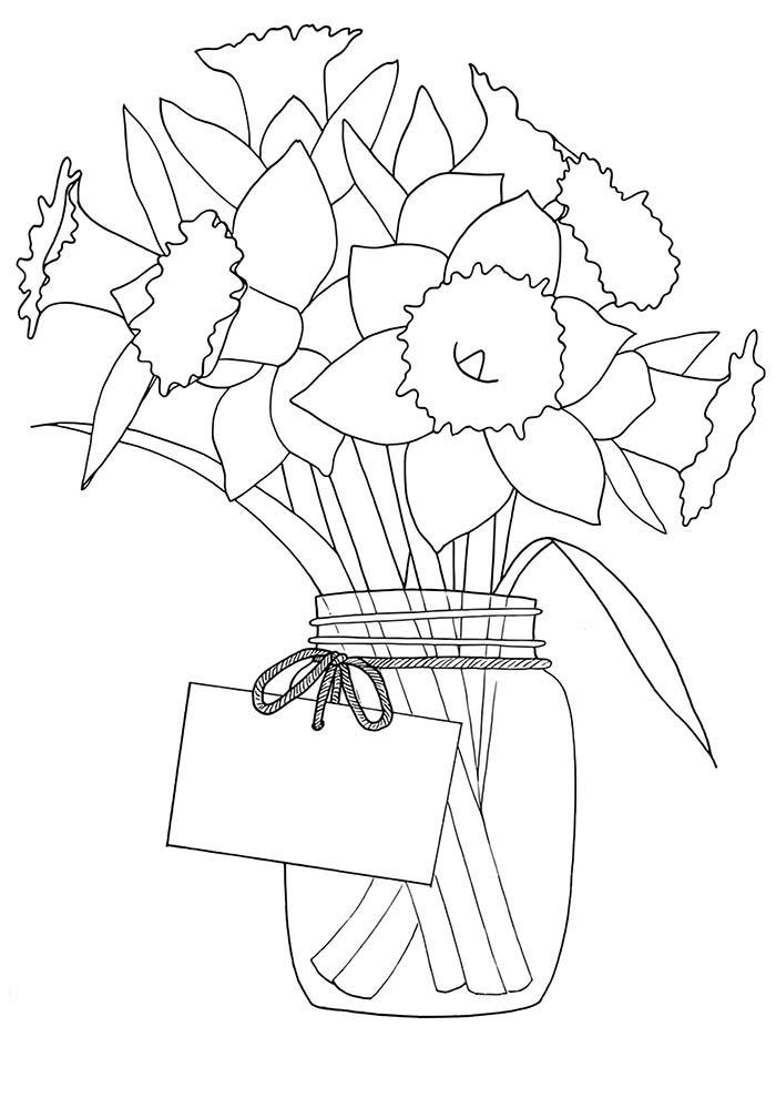 vaso de flores com cartão para colorir