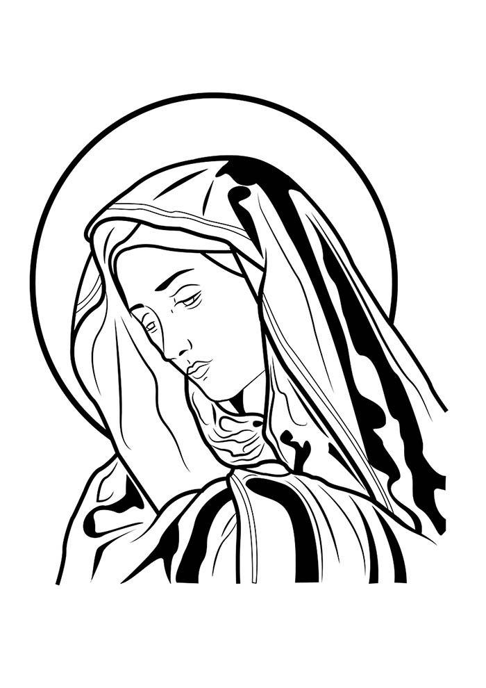 Virgem Maria para imprimir e colorir