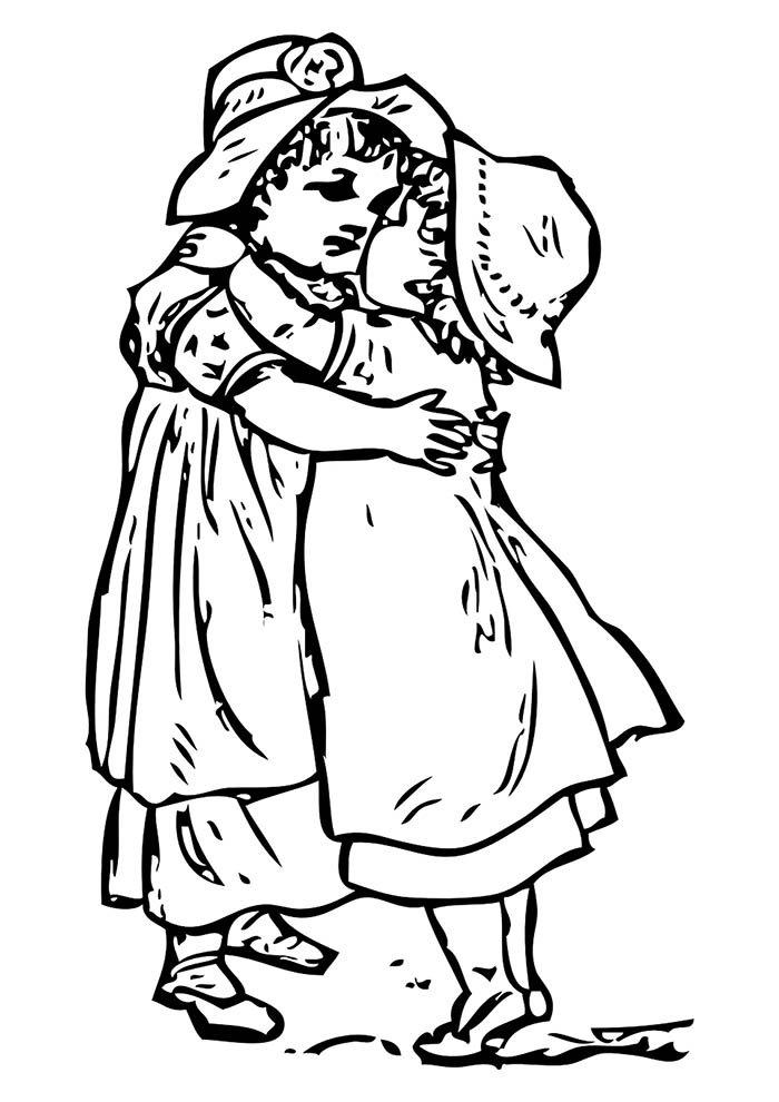 abraço meninas para colorir