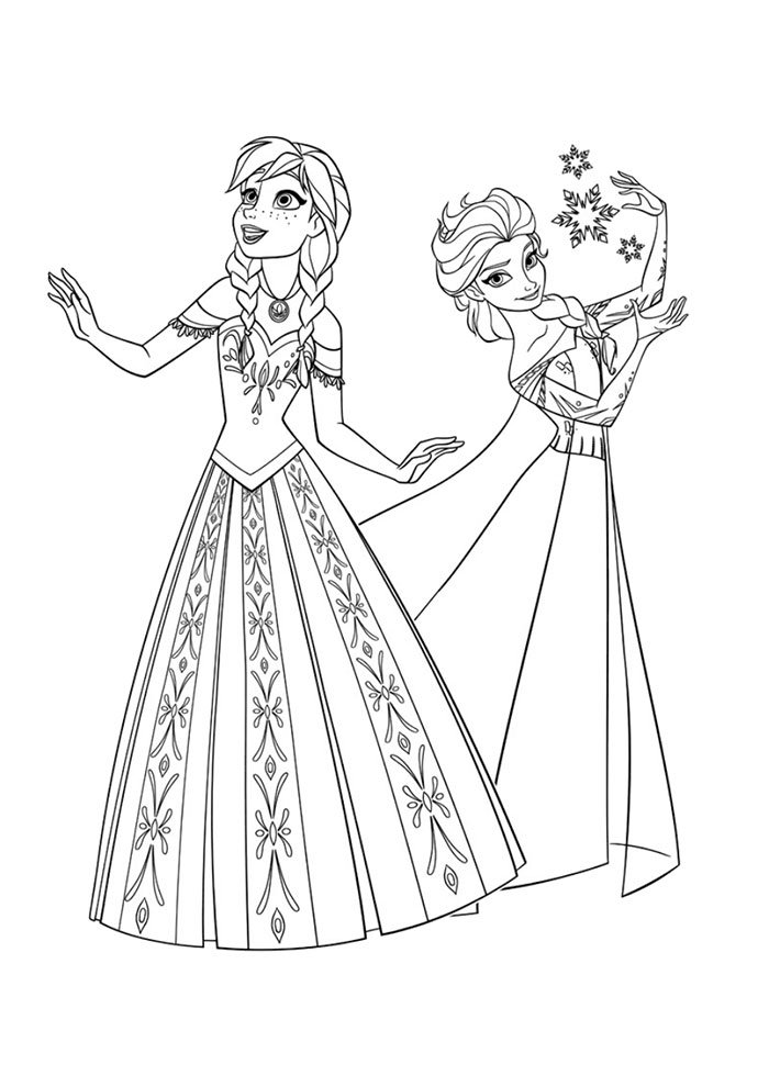 Ana e Elsa Frozen para colorir