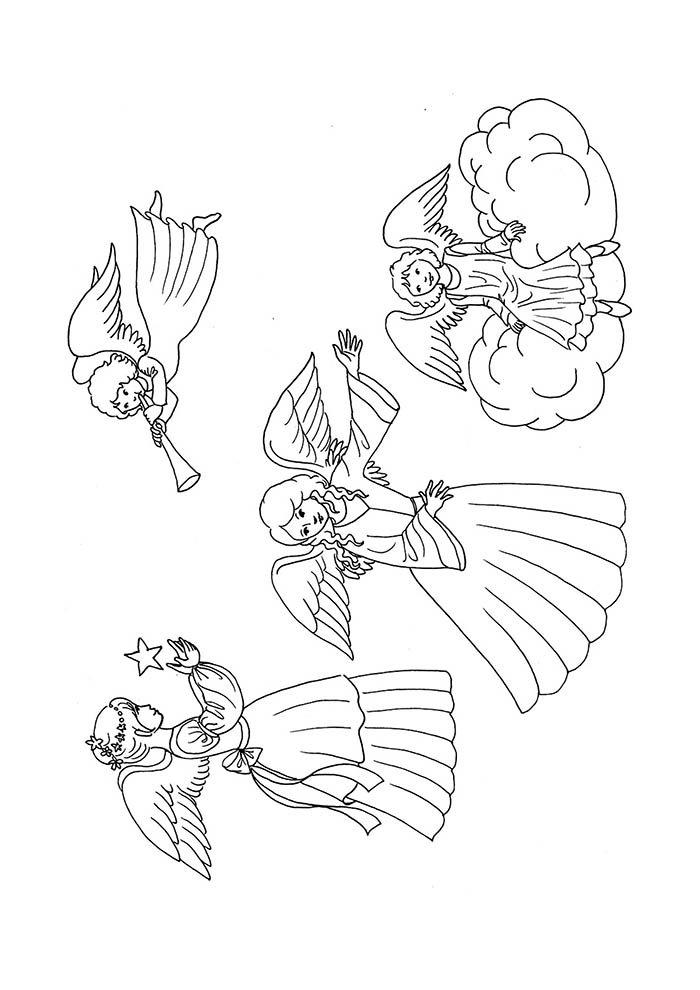 anjos de natal para colorir e imprimir