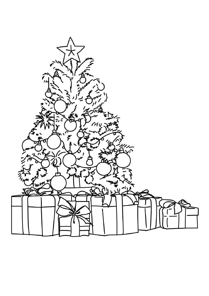 arvore de natal para colorir com presentes