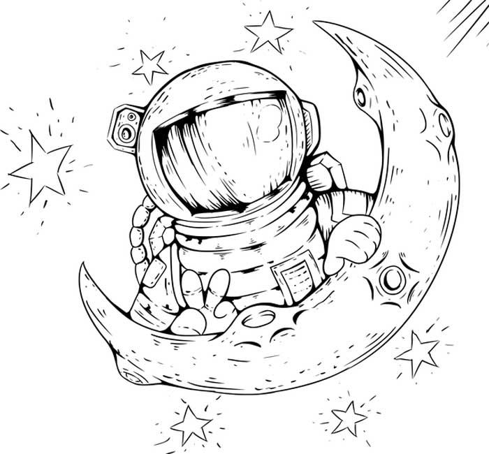 Astronauta nas estrelas para colorir
