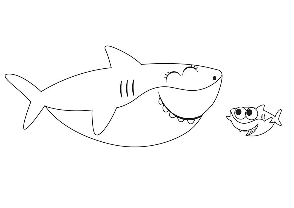 Baby shark para colorir e imprimir