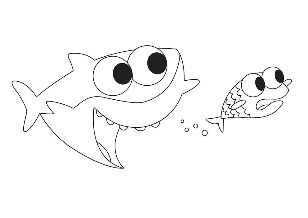 Baby shark para imprimir e colorir