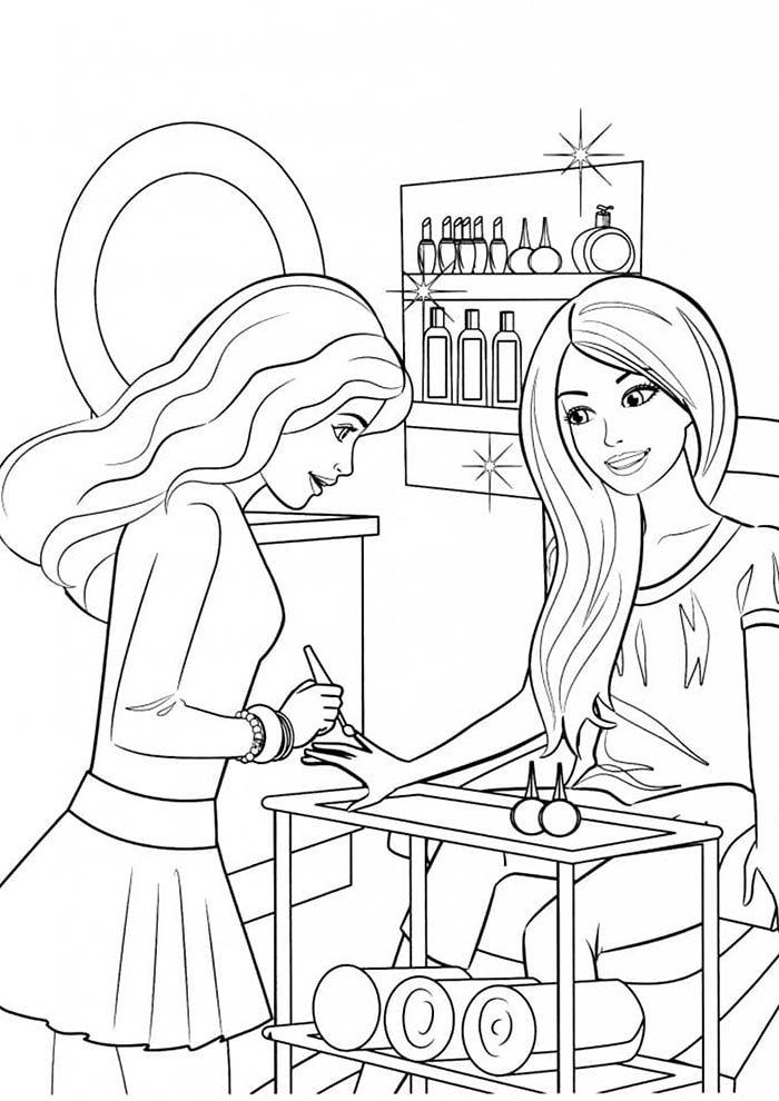 barbie na manicure para colorir