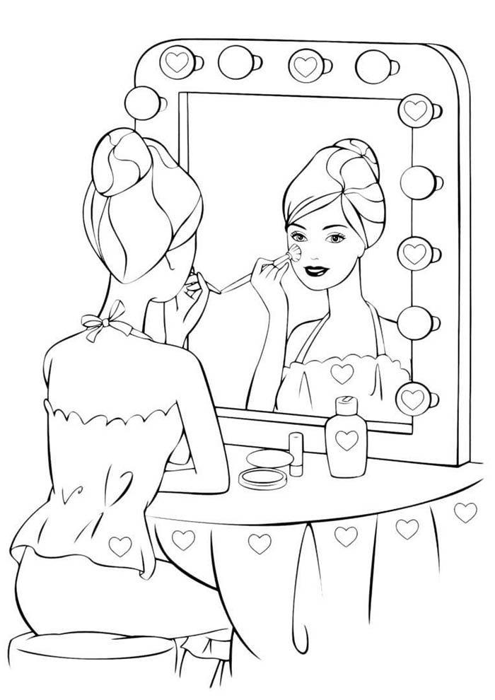 barbie no camarin para colorir