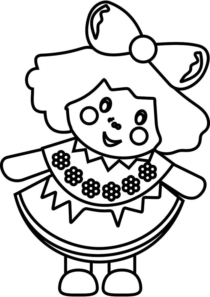 boneca para colorir