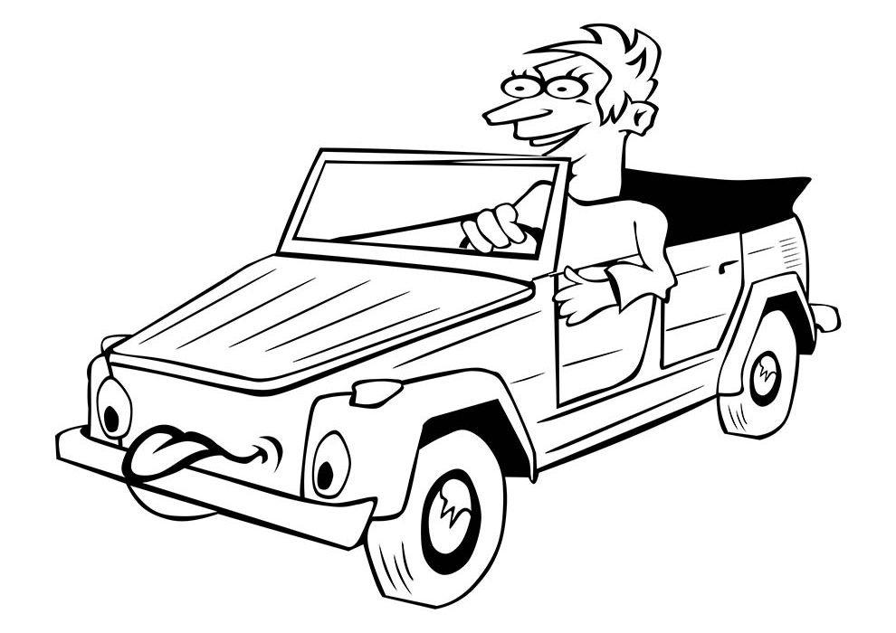 carro garoto para colorir