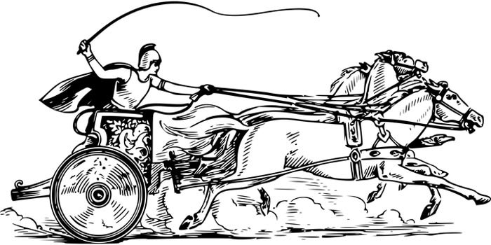 Carroça com cavalo para colorir