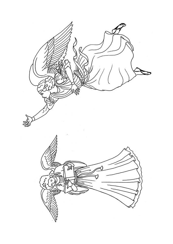 casal de anjos para colorir