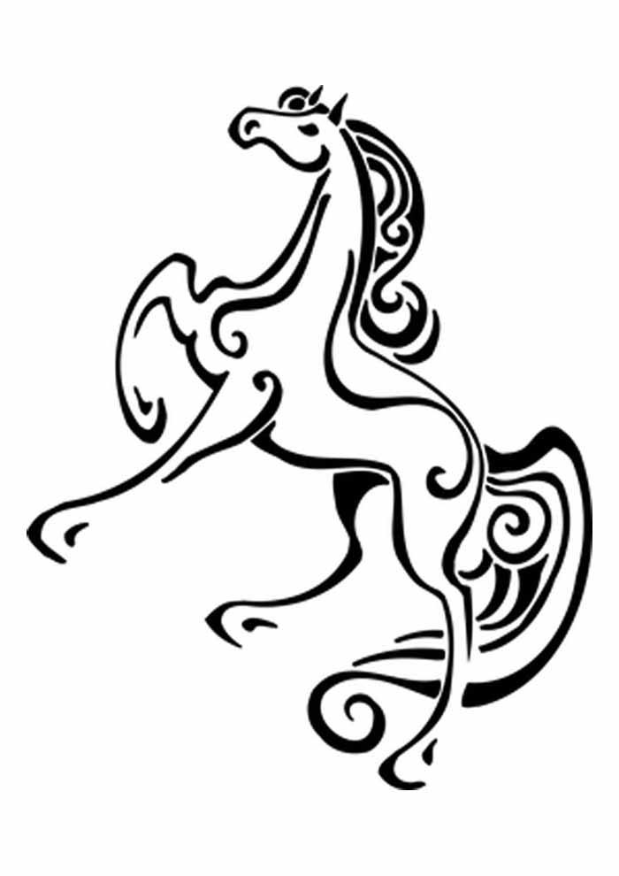 cavalo de madeira para colorir