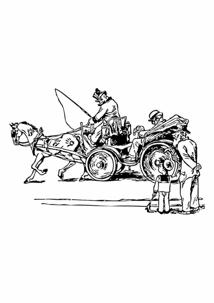 cavalo para colorir charrete e passageiro
