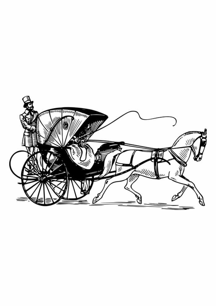cavalo para colorir homem na charrete