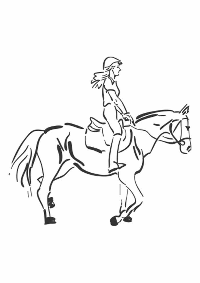 cavalo para colorir menina montada