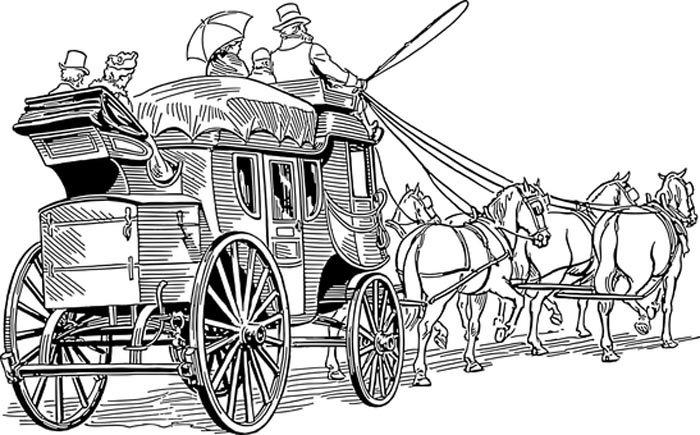 Cavalos com carroça para colorir
