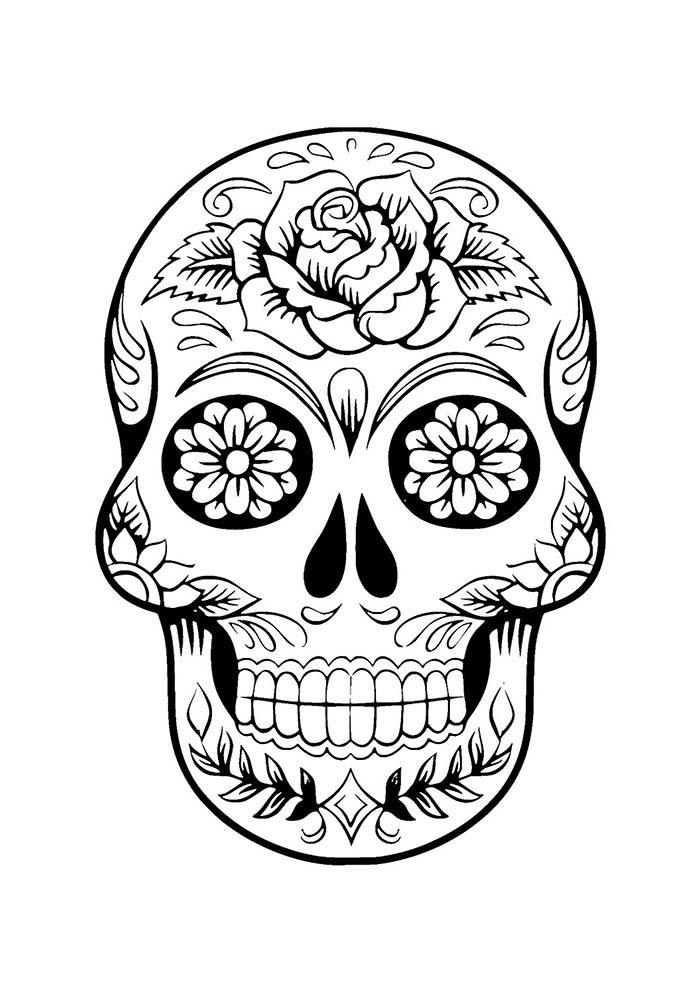 caveira de flores para colorir