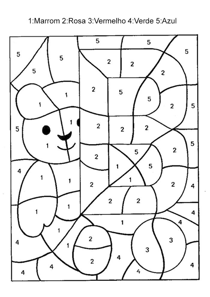 Colorir com números urso
