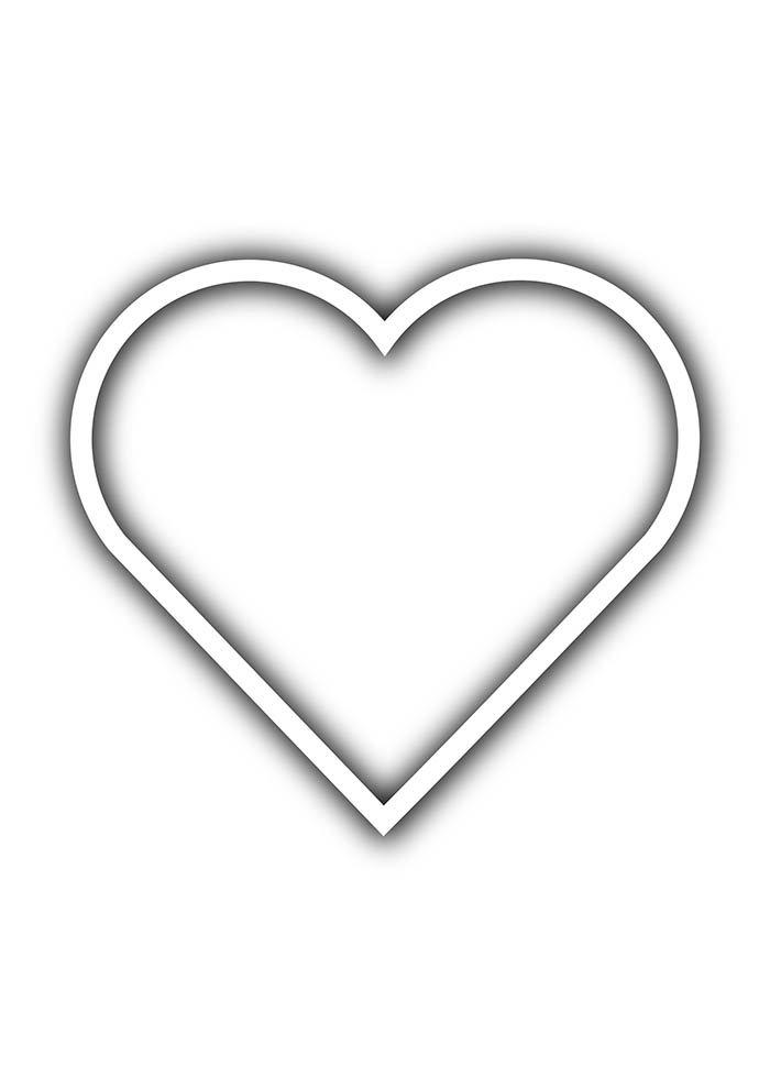 contorno de coração para imprimir
