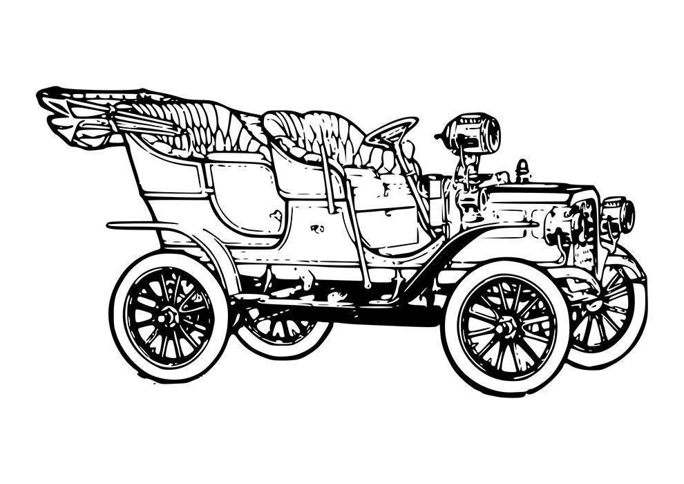 carro conversível anos 20 para colorir