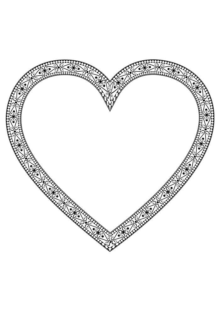coração borda detalhada para imprimir