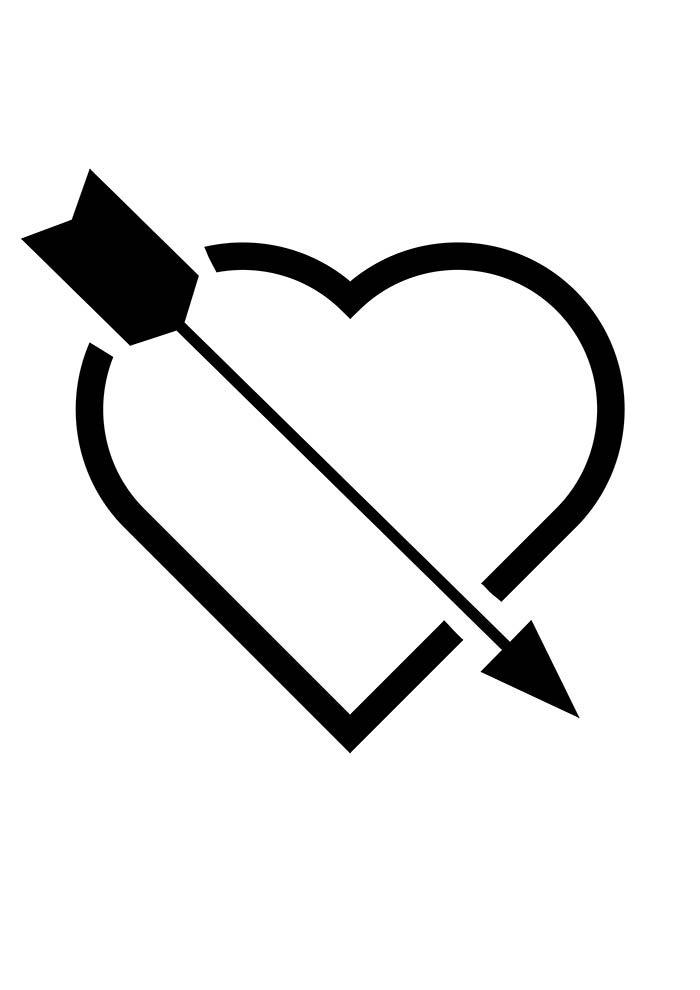 coração com flecha para imprimir
