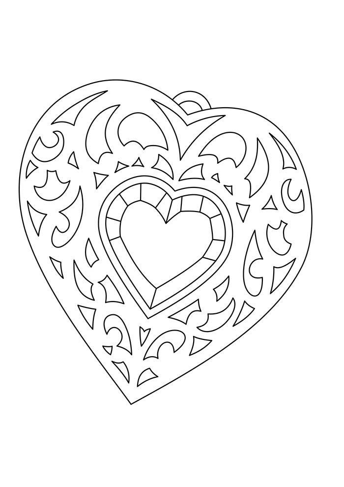 coração detalhado para colorir
