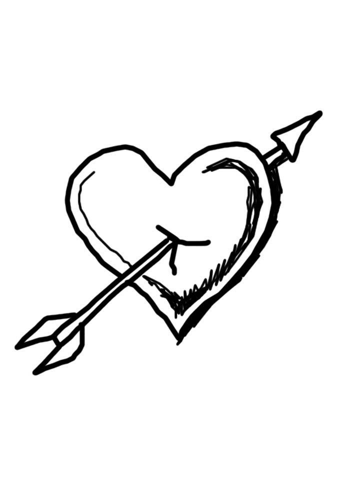 coração com flecha para colorir