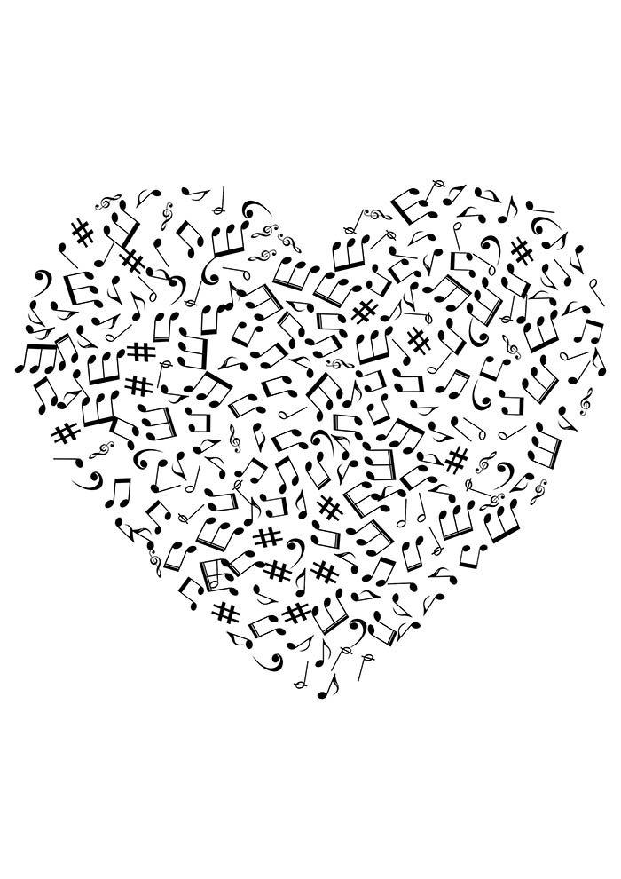 coração musical para imprimir