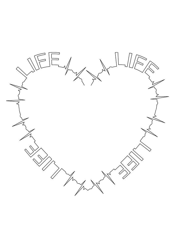 coração vida para imprimir