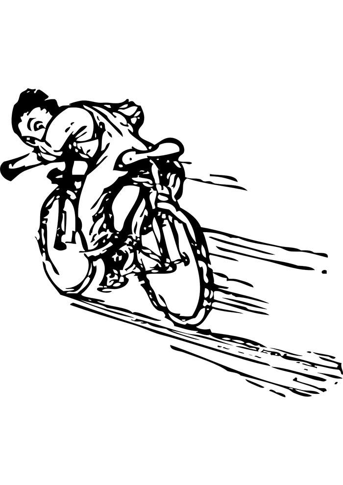 correndo de bicicleta para colorir