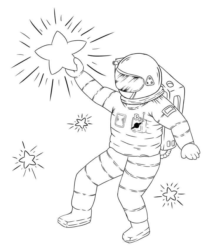 Desenho astronauta nas estrelas