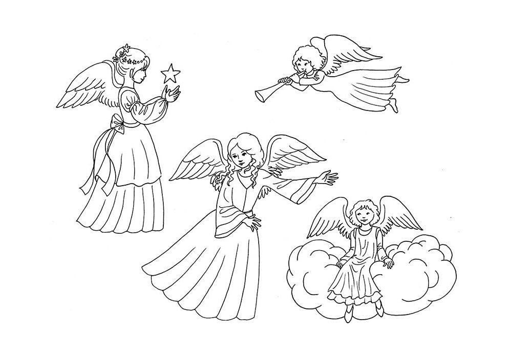 desenho de natal para colorir anjos