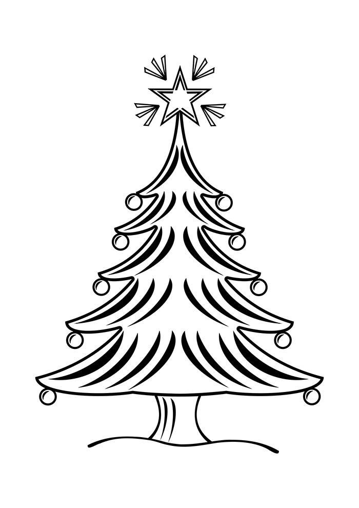 desenho de natal para colorir árvore de natal com bolas e estrela