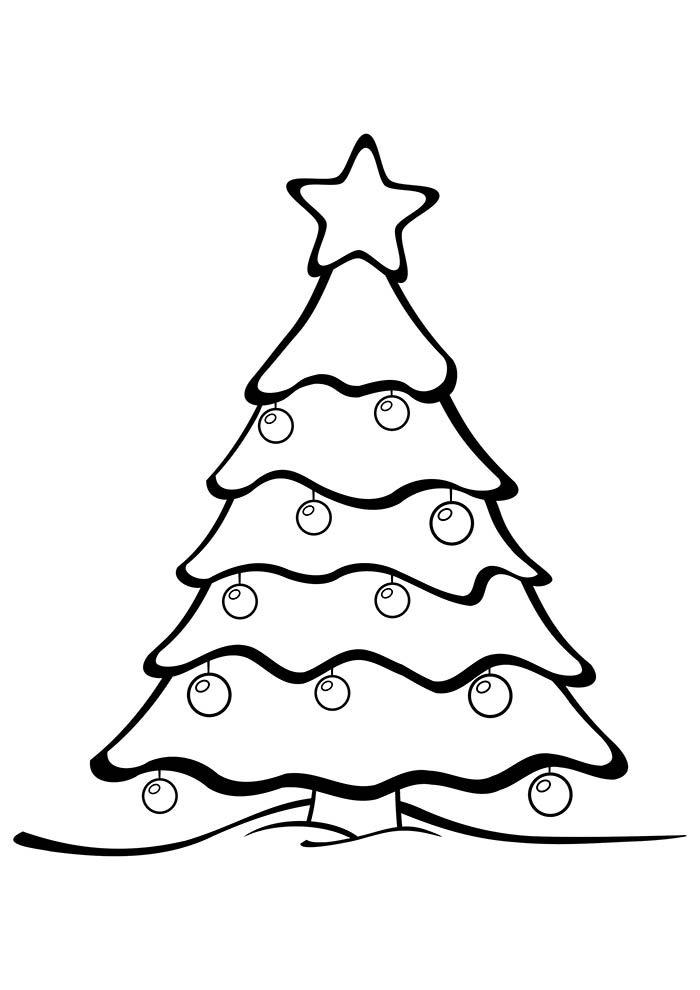 desenho de natal para colorir árvore de natal com enfeites