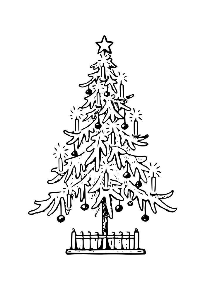 desenho de natal para colorir árvore de natal com velas